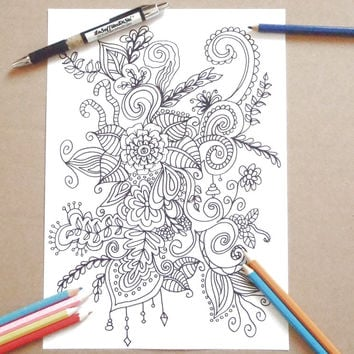 paisley doodle adult coloring page flowers abstract download colouring zentangle henna meditation zen printable art therapy lasoffittadiste