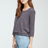 Striped Lace-Trimmed Blouse