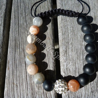 Yin Yang Natural Moonstone and Matt Black Agate Shamballa Bracelet