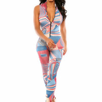 Multi Color Geometric Print Sleeveless Zipper Jumpsuit