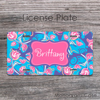 Pink lavender blue tulips floral pattern personalized car tag
