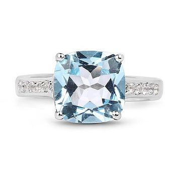 A Perfect 4.4CT Cushion Cut Blue Topaz Engagement Ring