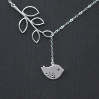 Bird Necklace  Leaf Necklace Bird Charm  by DanglingJewelry