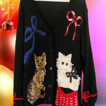 Ugly Christmas Sweater Tacky Christmas Sweater Ugly Cat Sweater Holiday Sweater Hipster Sweater Hipster Clothes Black Cardigan Black Sweater