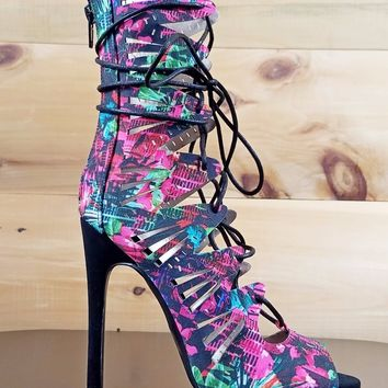 Qupid Glee Black Multi Print Open Front Lace Up Strappy High Heel Shoe