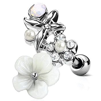 BodyJ4You Tragus Ball Piercing White Flower CZ Stud Earring 16G Surgical Steel Helix Ear Barbell (1.2mm)