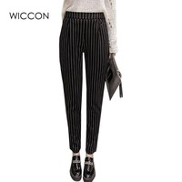 New Fashion 2017 Spring Autumn Stripes Pants Trousers Women Skinny Elastic Harem Pants Casual Work Pants Pantalon Femme WICCON