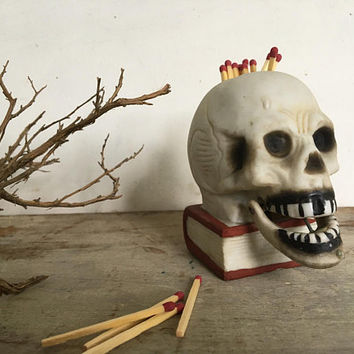 Vintage Skull Jaw Nodder Candle Or Match Holder, Halloween Decor, Made In Japan, Nodding Skeleton Head On Book