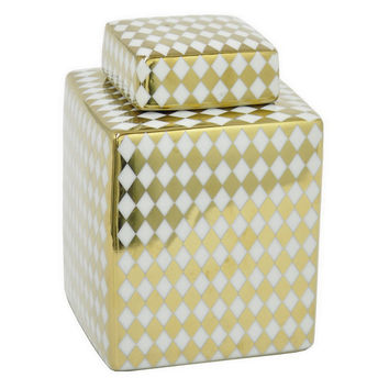 "8"" Diamond Print Jar, Gold, Jars, Canisters, Tins & Bottles"