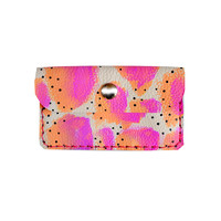 Hot Pink and Peach Wallet, Coin Purse, Neon Leather Pouch, Business Card Holder | Boo and Boo Factory - Handmade Leather Jewelry