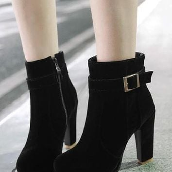 New Black Round Toe Chunky Buckle Casual Ankle Boots
