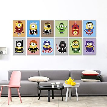 Superheros Avengers Batman Modern Funny Pop Anime Movie A4 Art Print Poster Kawaii Wall Picture Canvas Painting Kids Room Decor