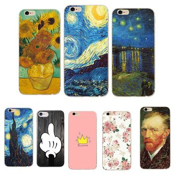 Phone Case for iphone 8 8X 7 Plus Soft TPU Thin Silicone Van Gogh Starry Night Cover Case For Apple iphone 5 5S SE 6 6S 7 Coque