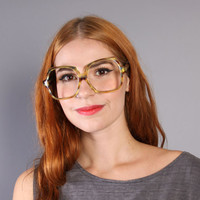 70s GLASSES Frames / Huge Transparent Marbled Plastic
