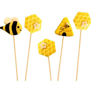 Rosh Hashanah Honeybee Marzipop™ Artisan Marzipan Lollipops - Honeycomb, a Beehive and the Bee!