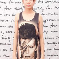 David Bowie T Shirt ZIGGY STARDUST Bolt Rock Women Black T-Shirt Vest Tank Top Singlet Sleeveless Size S M