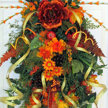 Fall wreath, fall wreath swag, autumn wreath, fall door wreaths,grapevine wreath, thanksgiving, fall decor, peony wreath, elegant wreath