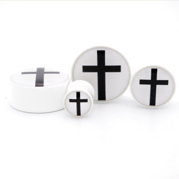 Black Cross on White BMA Plugs (2.5mm-60mm)