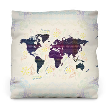 Bohemian Map Throw Pillow