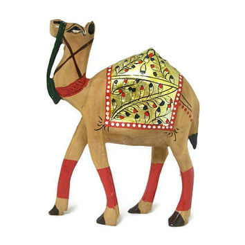 Vintage Hand Painted Wooden Camel Statue Made in India - Carved Wood Animal Collectible Figurine - Camel Sculpture Souvenir