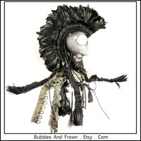 Mad Max... Black Feather Mohawk with Pewter Studs