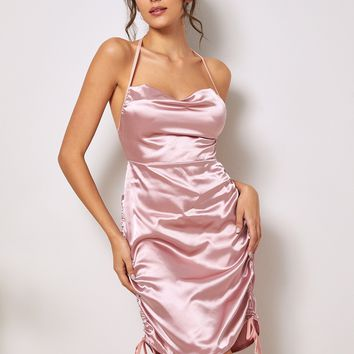 Ruched Knot Detail Satin Halter Dress