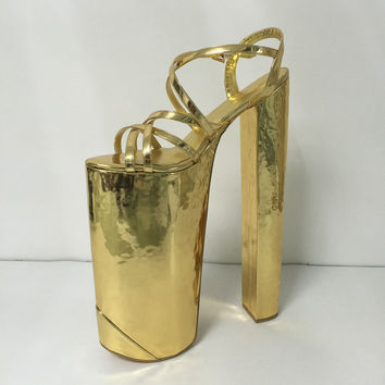 Customized Gold Women Sandal Extrem High Heels Cross-tied Open Toe Summer Shoes Women Size 14 Runway Shoes Open Toe Heels 35cm