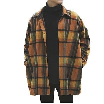 Oversized Flannel Vintage Shirt Men Plaid Long Sleeve