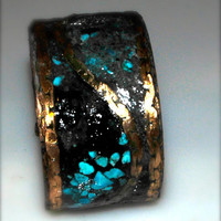 Mens Inlay bracelet cuff Black tourmaline turquoise and hemimorphite