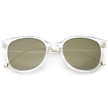 Modern Translucent Horn Rimmed Sunglasses with Round Mirrored Lens 52mm