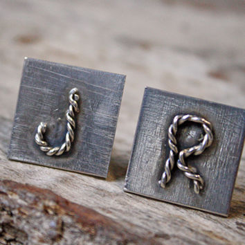 Sterling Silver Initial Rope Cuff Links