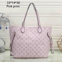 LV tide brand female large capacity casual shopping tote bag shoulder bag handbag Pink print