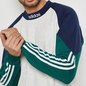 Adidas cloverleaf clothe men's style patchwork color matching couples jumper hoodies