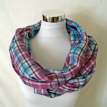 Purple, Blue & Silver Plaid Infinity Scarf - Circle Scarf / Cowl with a shiny silver thread detail, lively tartan for cold offices