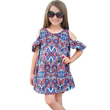 Summer Kids Dress Girls Off Shoulder Printing Bohemian Dress Fashion Beach Clothes Outfits Vestido De Menina #7808