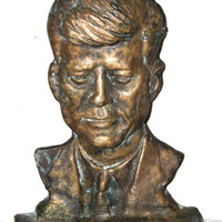 Bronze Bust, Sculpture of American President, John Fitzgerald Kennedy, Doorstop, Vintage, JFK, Bronze Door Stop, Collectible Memorabilia