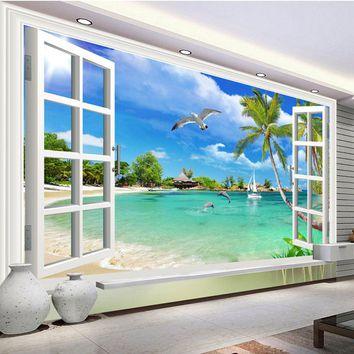 Custom Mural Wallpaper Seaside Dolphin Seagull Sunny Beach Photo Wall Papers Living Room Bedroom Home Decor Papel De Parede Sala