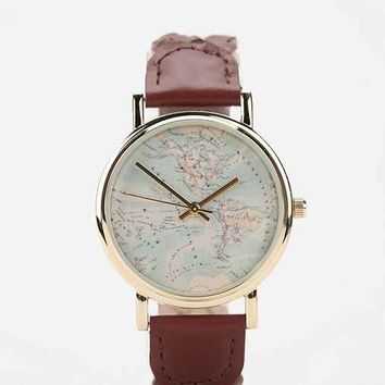 Braided Leather Map Watch- Brown One