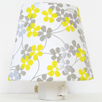 Yellow and Gray Nursery Night Light - White, Yellow and Grey Nursery Decor