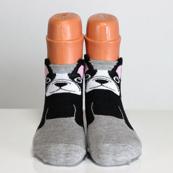 Black Bulldog Socks Dog Socks Gray Socks Pink Ear Sweet Dog Sock Girls Socks Women Socks Funny Socks Ankle Socks Animal Socks Cute Fun Socks