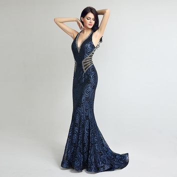 Vintage V Neck Long Mermaid Formal Evening Dresses Sheath Bodice Lace Crystal Beading Prom Gown Robe De Soiree LSX235