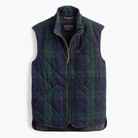 J.Crew Mens Sussex Quilted Vest In Black Watch
