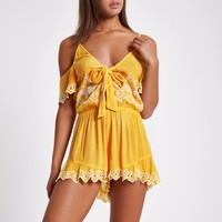 Yellow broderie frill beach playsuit