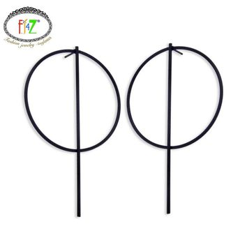 2016 New arrival women's Fashion Punk style Simplicity Copper Big Circle Stick Drop Earrings For party Brincos Grandes
