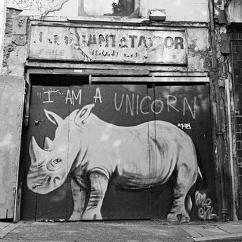London Photography, Black and White Photo, Graffiti, Street Art, Fine Art Print, Contemporary Wall Art, Urban Photography, Rhinoceros