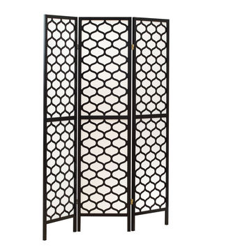 "Black Frame 3 Panel "" Lantern Design "" Folding Screen"