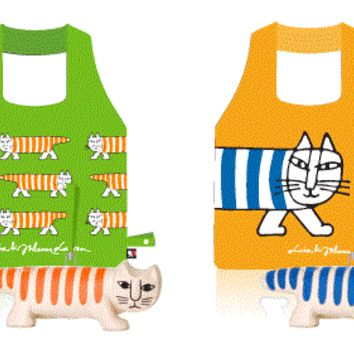 "Carrefour Lisa & Johanna Larson Mikey Cat 4 Plastic Tote Bag w/ 6.5"" Figure Set"
