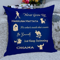 disney peter pan,lion king,beauty and the beast,finding nemo,lilo and stich quote pillow case,one side and two side /pillow cover