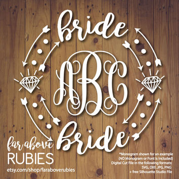 Bride Wedding Monogram Wreath with Diamond (monogram NOT included) - SVG, DXF, png, jpg digital cut file for Silhouette or Cricut