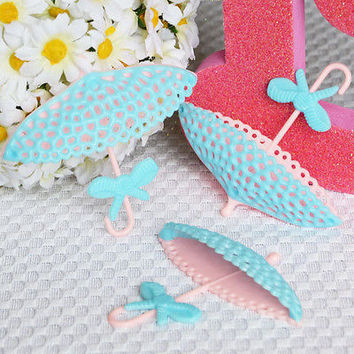 12 Light Blue & Pink Parasol Umbrella Lace Parasol Cupcake Birthday Cake Topper Wedding Baby Shower